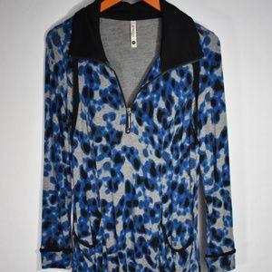 Collared Animal Print Long Sleeve Dress w/ Pockets